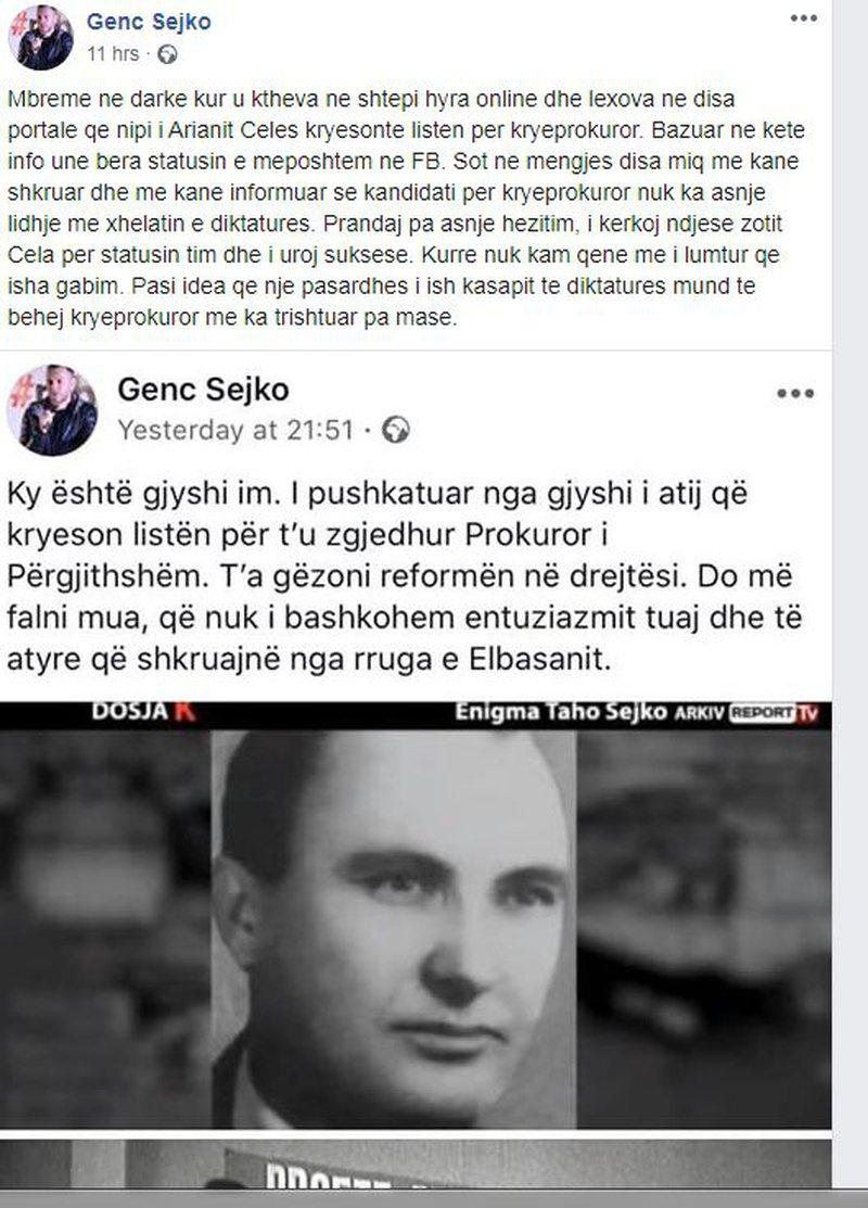 'Nipi i prokurorit famëkeq', Olsian Çela reagoi pas