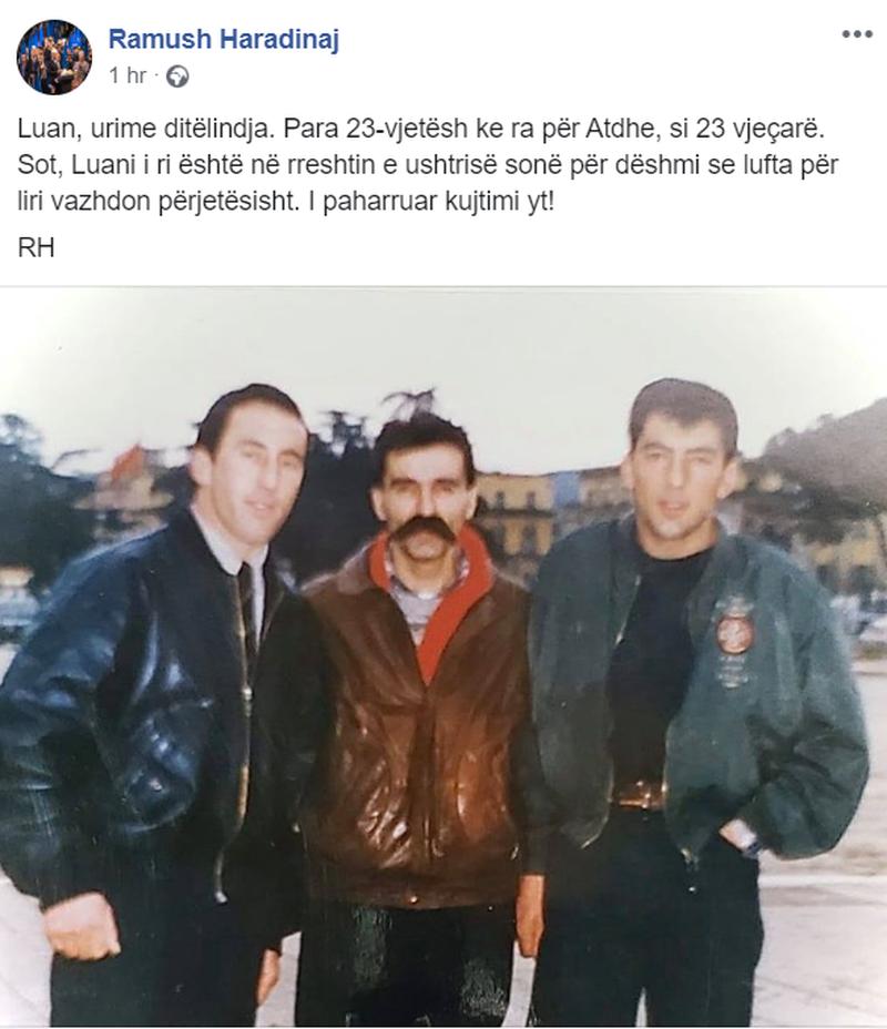 Haradinaj nxjerr foton e 23 viteve më parë dhe i dedikon fjalët