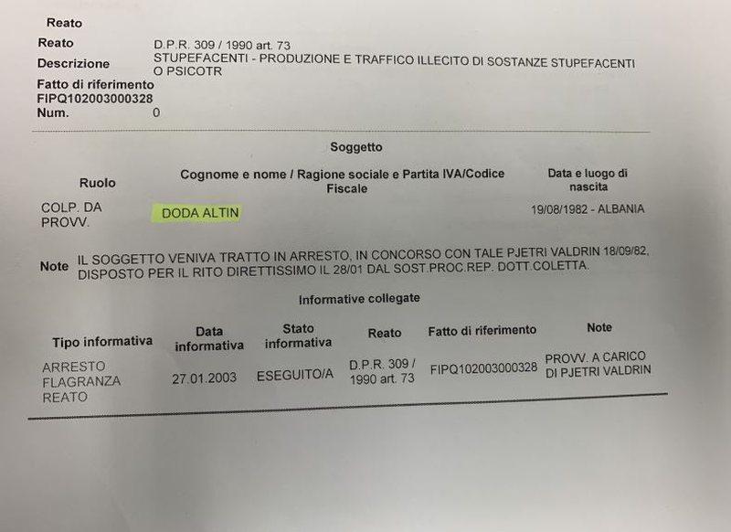 PD publikon dokumentin: I ndaluar në Itali për trafik droge edhe djali