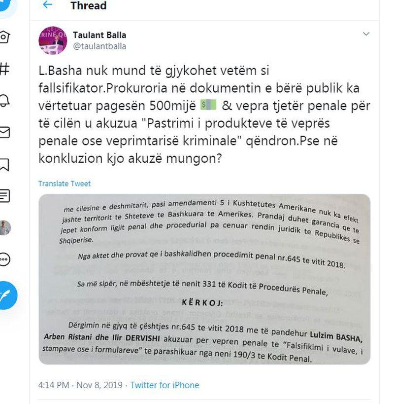 Lulzim Basha thirret në Gjykatë për falsifikim, Taulant Balla del