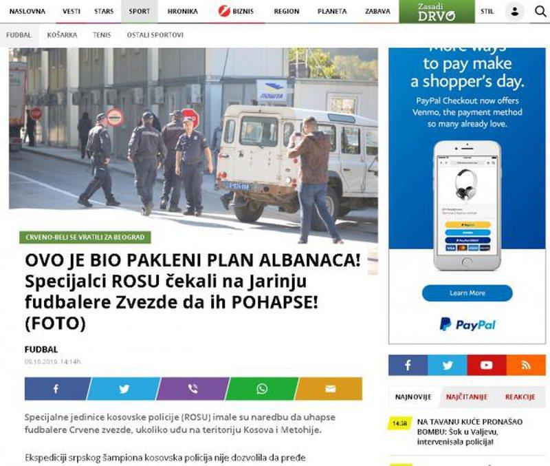 """""""Plan i fëlliqur i shqiptarëve kundër 'Crvena"""