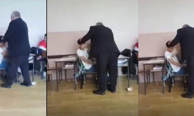 Video e rëndë/ Mësuesi shqiptar godet pa pushim