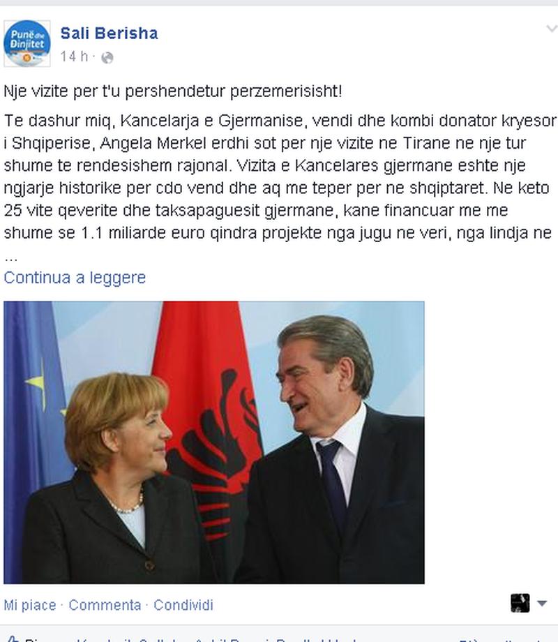 Berisha poston në Facebook një foto me Merkel: Kancelarja hodhi
