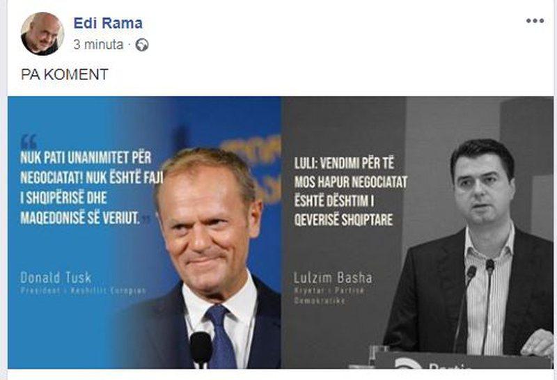 """""""Qeveria dështoi me negociatat"""", Rama i përgjigjet"""