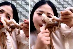 Pamje të rënda/ Kinezja tenton të hajë oktapodin e