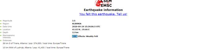 Tjetër tërmet i fortë lëkund Shqipërinë, ja