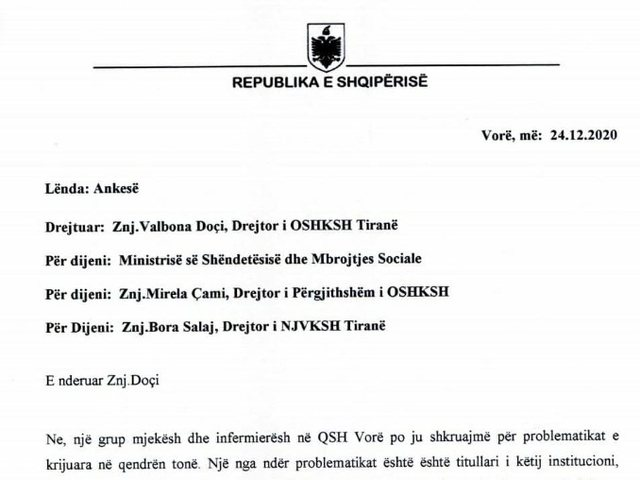 Scandal / The letter of the doctors and nurses is published, the urgent request