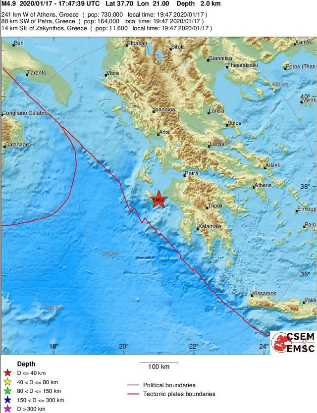 Tërmet i fuqishëm 4.9 ballë në detin Jon, ja deri ku u
