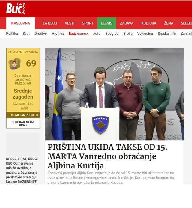 Heqja e taksës , ja çfarë shkruajnë mediat serbe për