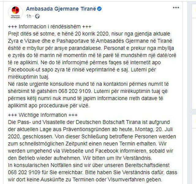 Mbyllet zyra e vizave dhe pasaportave, ambasada gjermane në Tiranë del