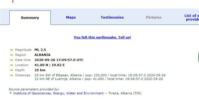 Tjetër lëkundje tërmeti në vend, ja ku ishte epiqendra