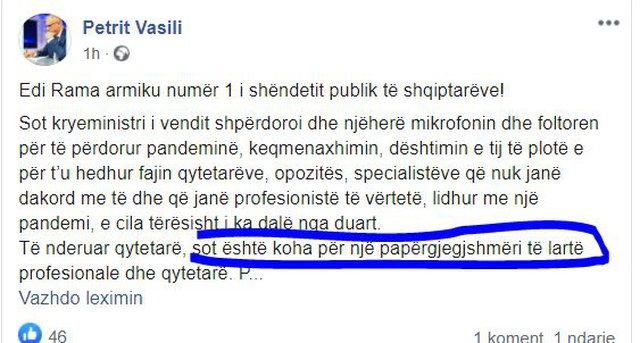 """Pas """"organizmit seksual"""", Vasili lëshon gafën e"""
