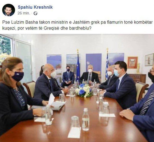Kreshnik Spahiu nxjerr foton nga takimi i Lulzim Bashës me ministrin e