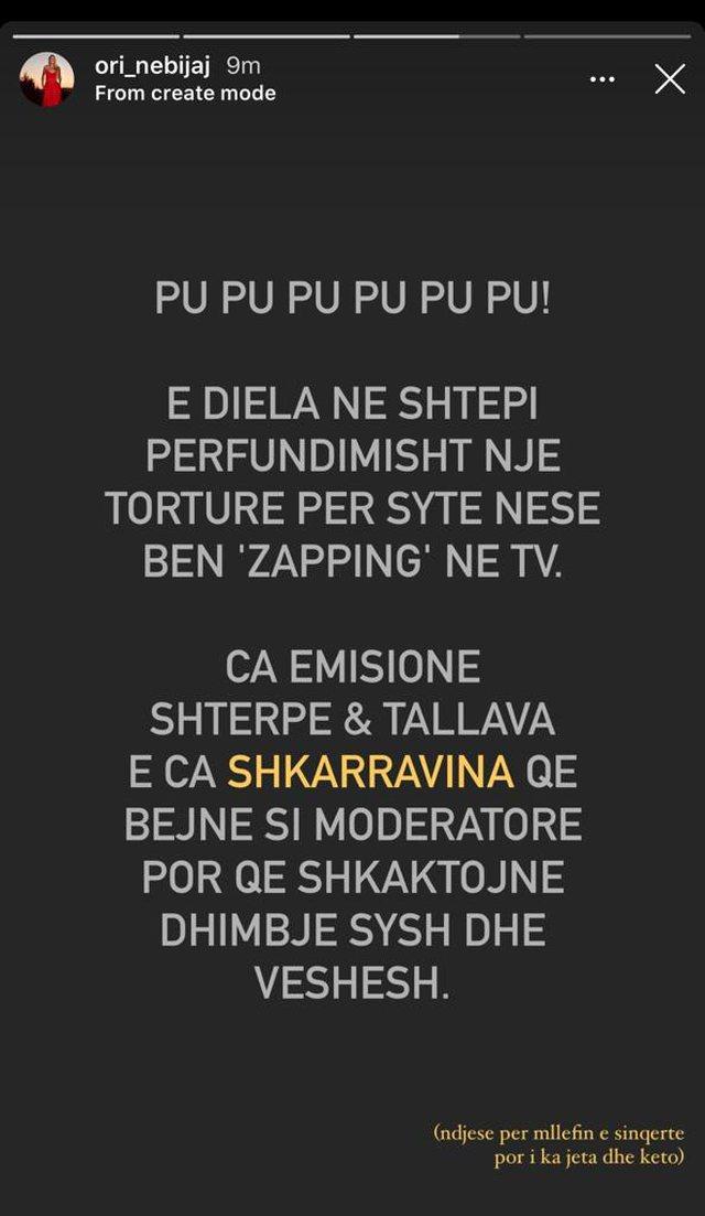 """""""Shkarravina që bëjnë si moderatore"""", Ori Nebijaj"""