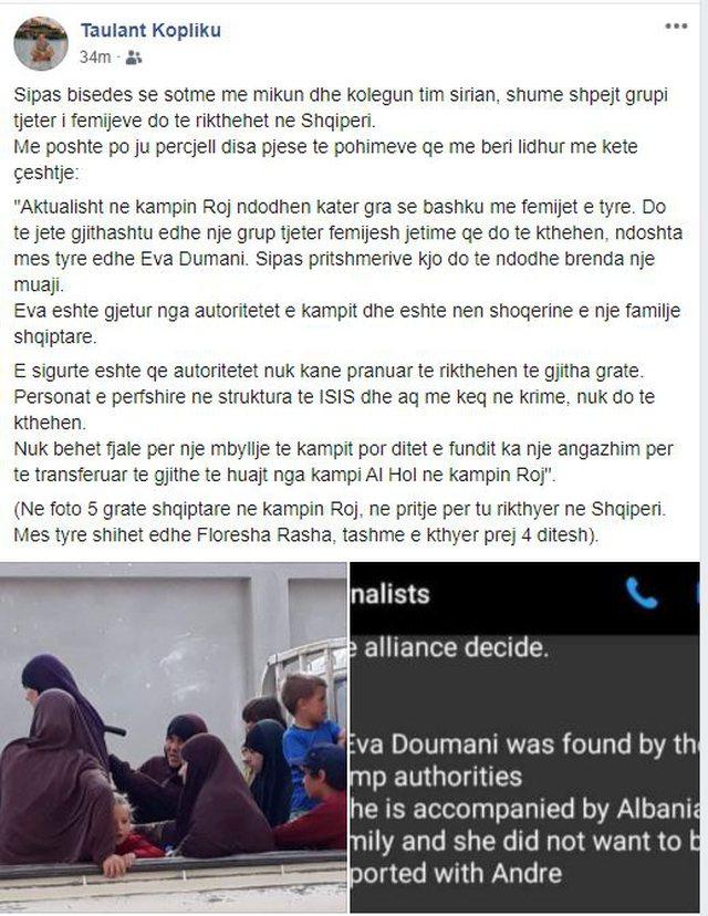 Gazetari Taulant Kopliku publikon foton dhe jep lajmin e mirë për Eva