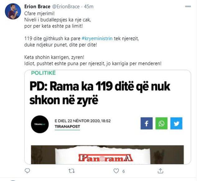 'Rama ka 119 ditë pa shkuar në zyrë', Erion