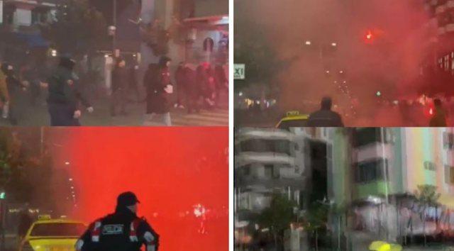 Derbi Partizani-Tirana / Plas in Elbasan, quarrel with stones and flames before