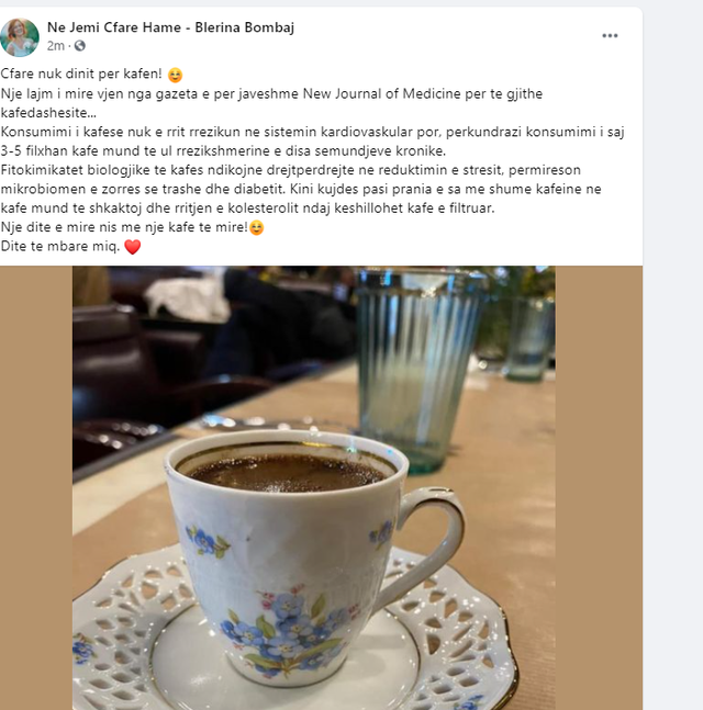 Do you like to consume coffee? Blerina Bombaj gives the good news to all of you,