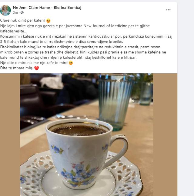 Iu pëlqen ta konsumoni kafen? Blerina Bombaj jep lajmin e mirë