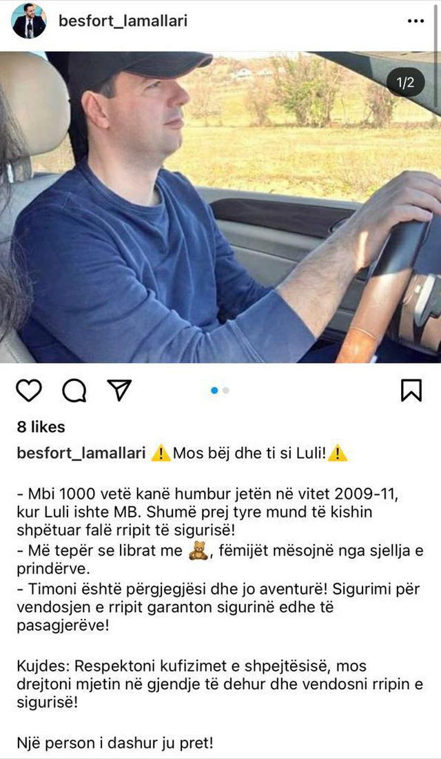 Filmed by his wife behind the wheel of his seat belt, Deputy Minister of