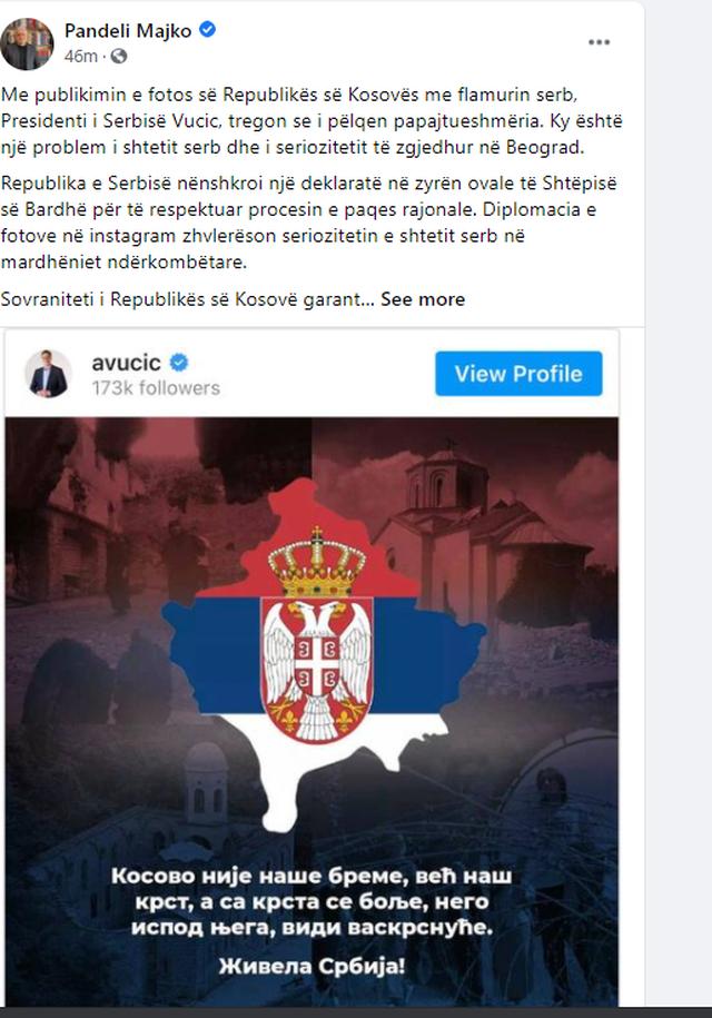 Vuçiç publikoi hartën e Kosovës me flamurin serb,