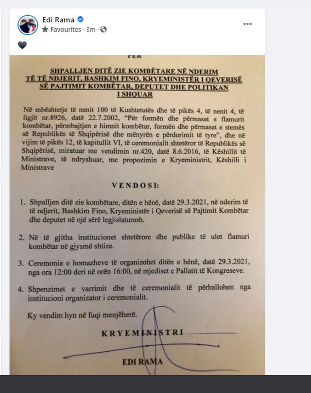 Ndarja nga jeta e Bashkim Finos, kryeministri Rama firmos vendimin e