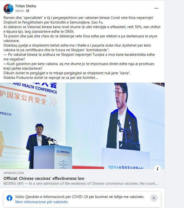 Deklarata e papritur nga Kina për vaksinën Sinovac, ish-deputeti i