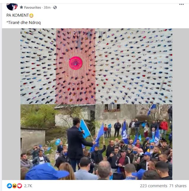 """""""Pa koment"""",Rama poston foton nga takimi i Bashës dhe jep"""