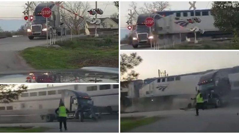 Pamje të frikshme, kamioni i ngecur mbi shina ndahet më dysh nga treni