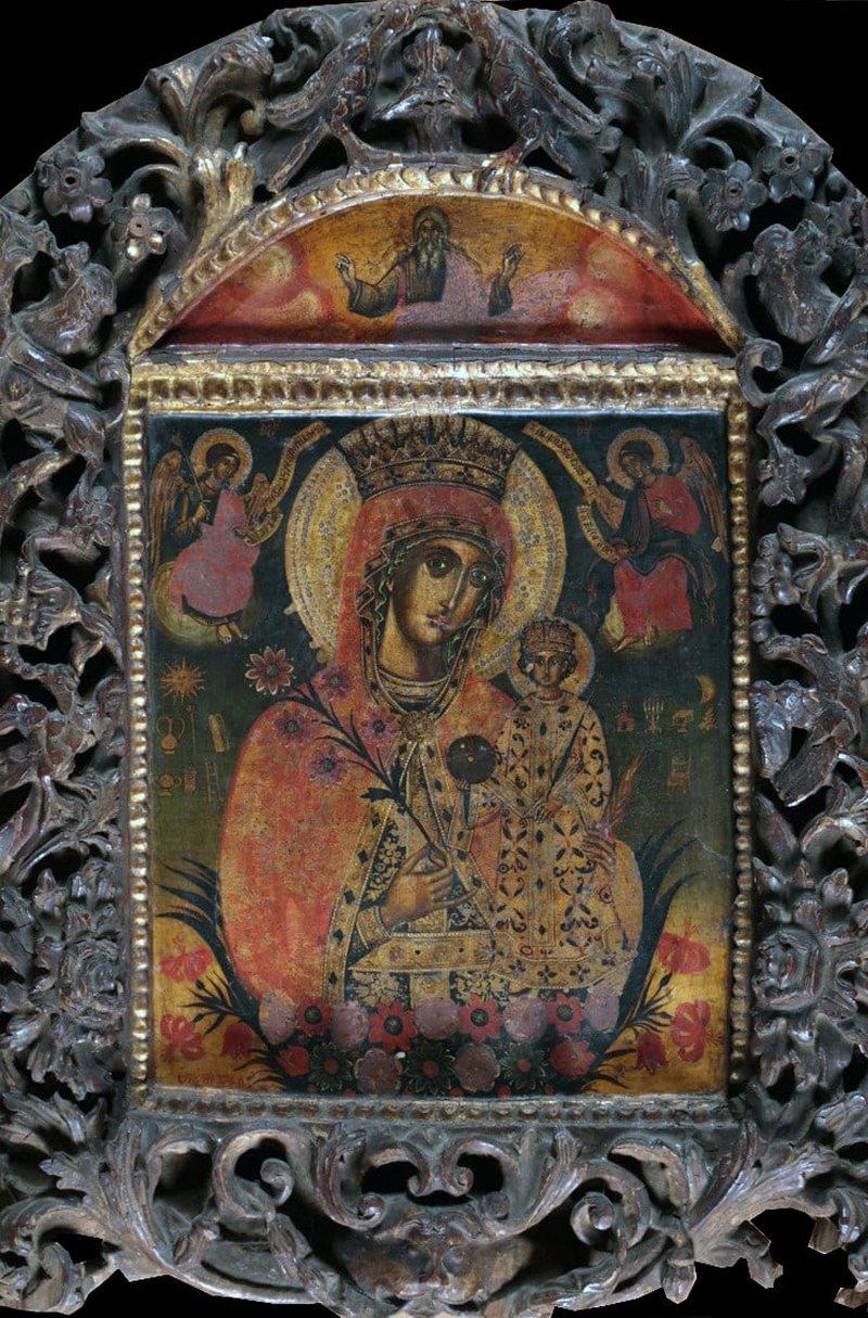 """Ikona """"Shën Mëria me lule"""" në muze, pikturuar nga"""