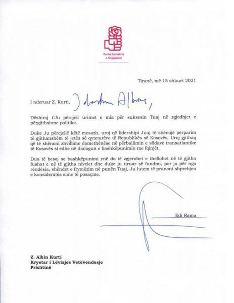 Publikohet letra që Edi Rama i dërgoi Albin Kurtit pas fitores në