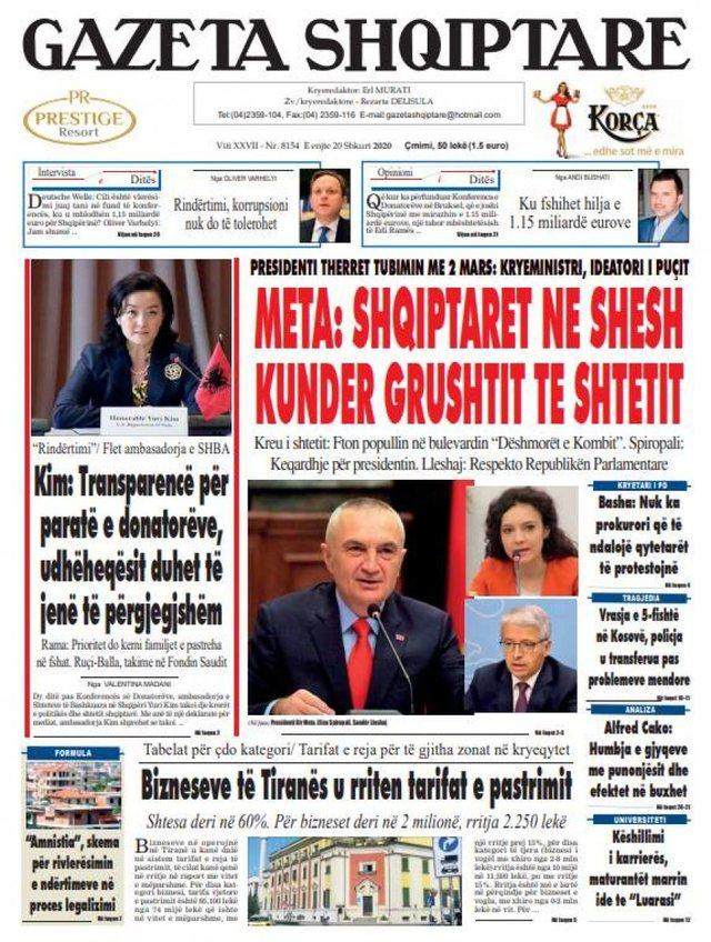 Shtypi/ Titujt kryesorë të gazetave për ditën 20 shkurt 2020