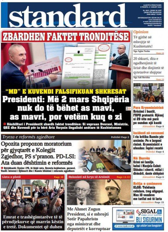 Shtypi/ Titujt kryesorë të gazetave për ditën 21 shkurt 2020