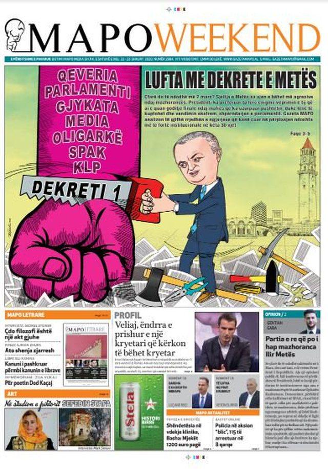 Shtypi/ Titujt kryesorë të gazetave për datën 22 shkurt 2020