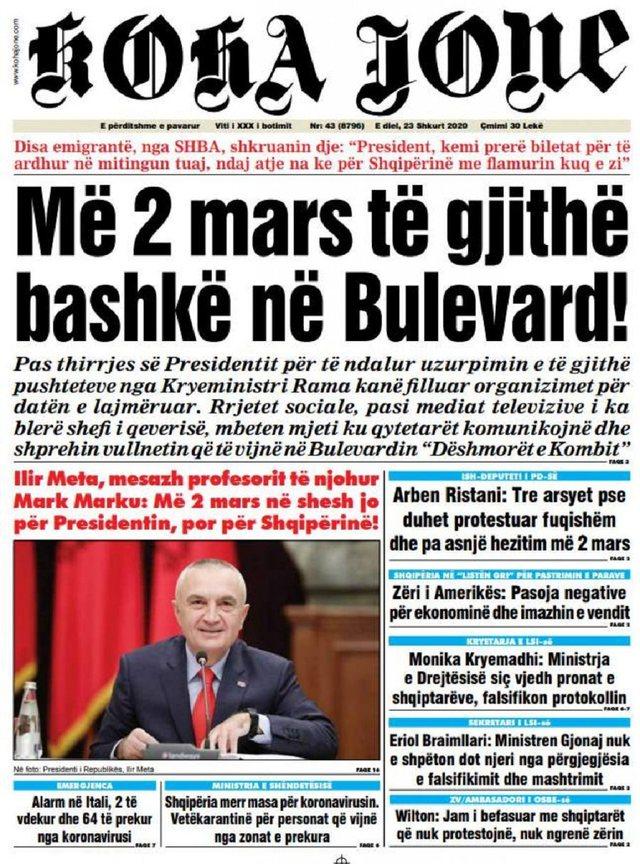 Shtypi/ Titujt kryesorë të gazetave për ditën 23 shkurt 2020