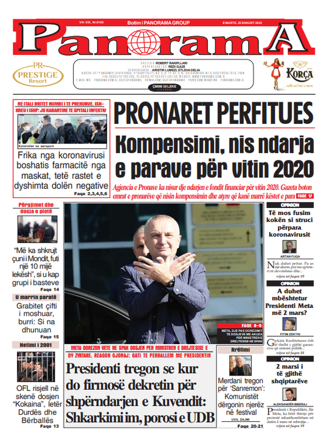 Shtypi/ Titujt kryesorë të gazetave për ditën 25 shkurt 2020