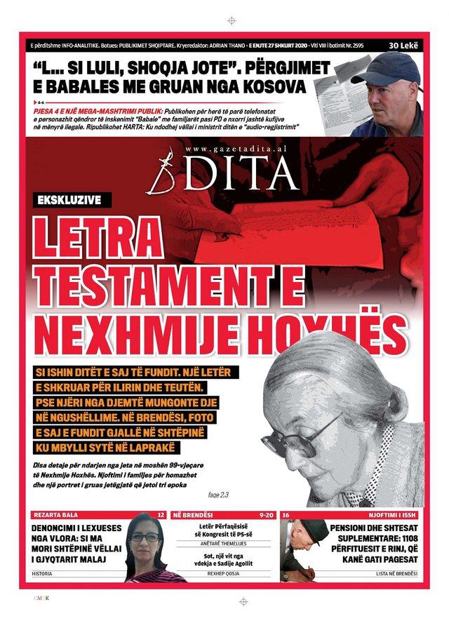 Shtypi/ Titujt kryesorë të gazetave për ditën 27 shkurt 2020