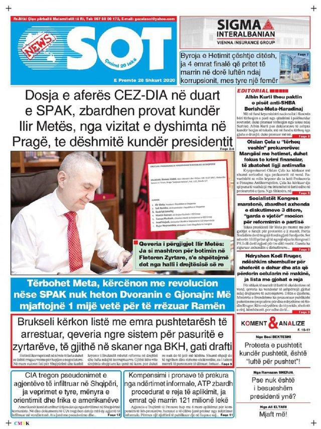 Shtypi/ Titujt kryesorë të gazetave për ditën 28 shkurt 2020
