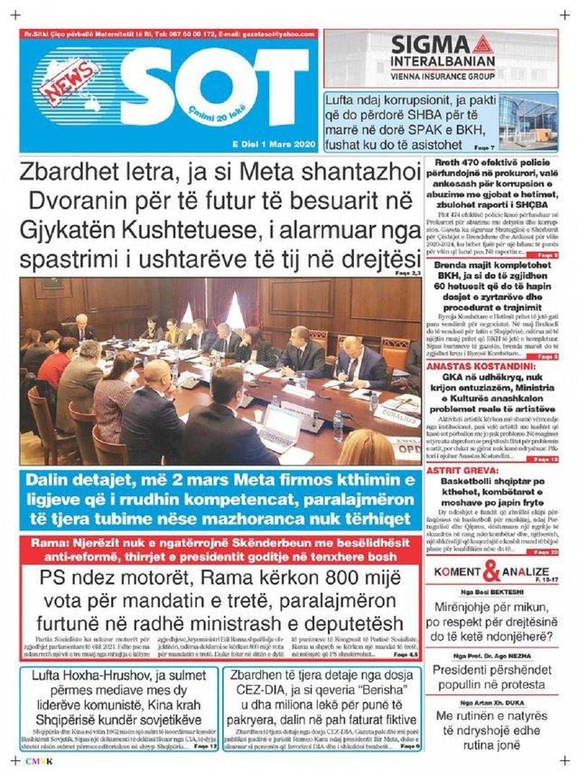 Shtypi/ Titujt kryesorë të gazetave për ditën 1 mars 2020