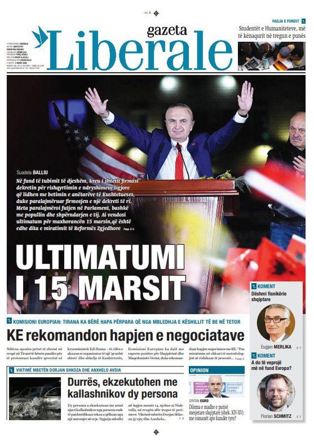 Shtypi/ Titujt kryesorë të gazetave për ditën 3 mars 2020