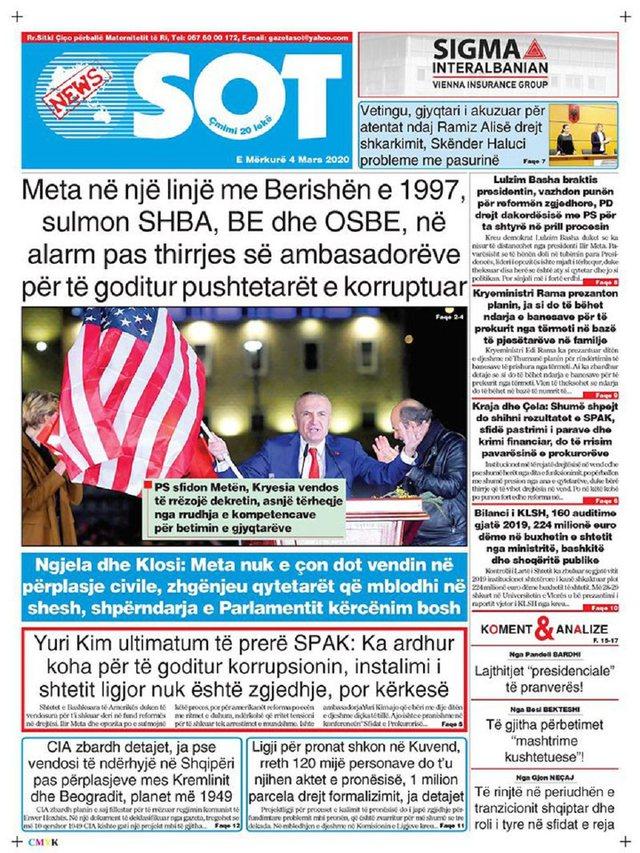 Shtypi/ Titujt kryesorë të gazetave për ditën 4 mars 2020
