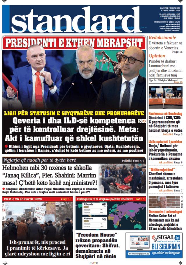 Shtypi/ Titujt kryesorë të gazetave për ditën 5 mars 2020