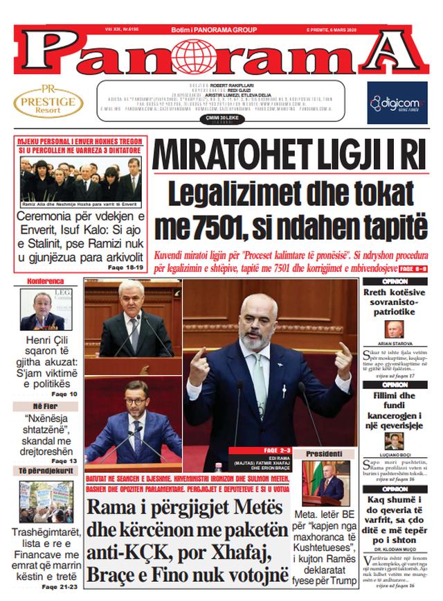 Shtypi/ Titujt kryesorë të gazetave për ditën 6 mars 2020