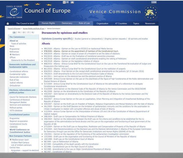 Raporti paraprak i Venecias thotë se çështja e Kushtetueses nuk