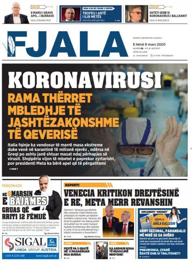 Shtypi/ Titujt kryesorë të gazetave për datën 9 mars 2020