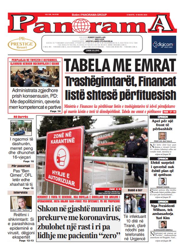 Shtypi/ Titujt kryesorë të gazetave për datën 10 mars 2020