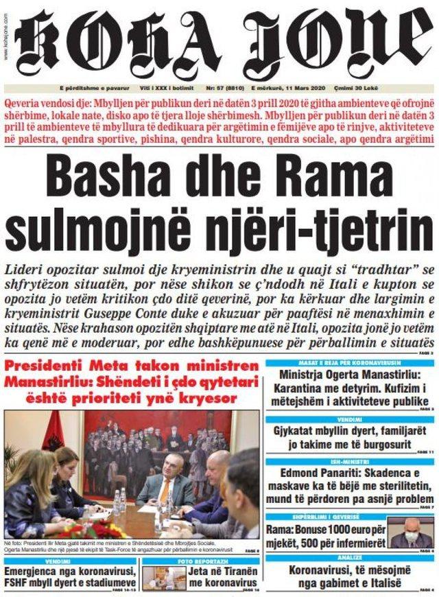 Shtypi/ Titujt kryesorë të gazetave për datën 11 mars 2020