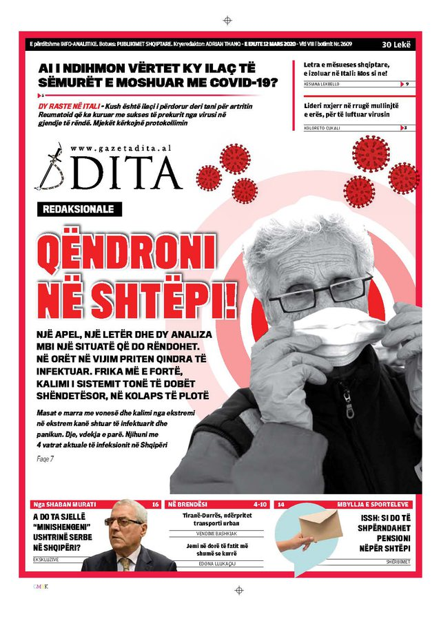 Shtypi/ Titujt kryesorë të gazetave për ditën 12 mars 2020