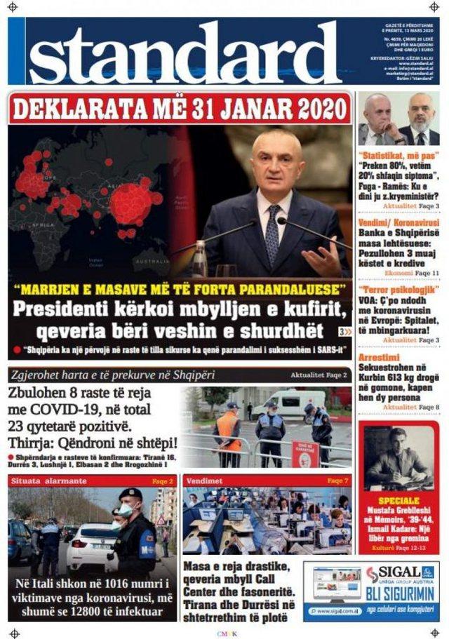 Shtypi/ Titujt kryesorë të gazetave për ditën 13 mars 2020