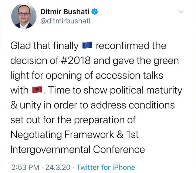 Bushati komenton vendimin për Negociatat: Tani është koha